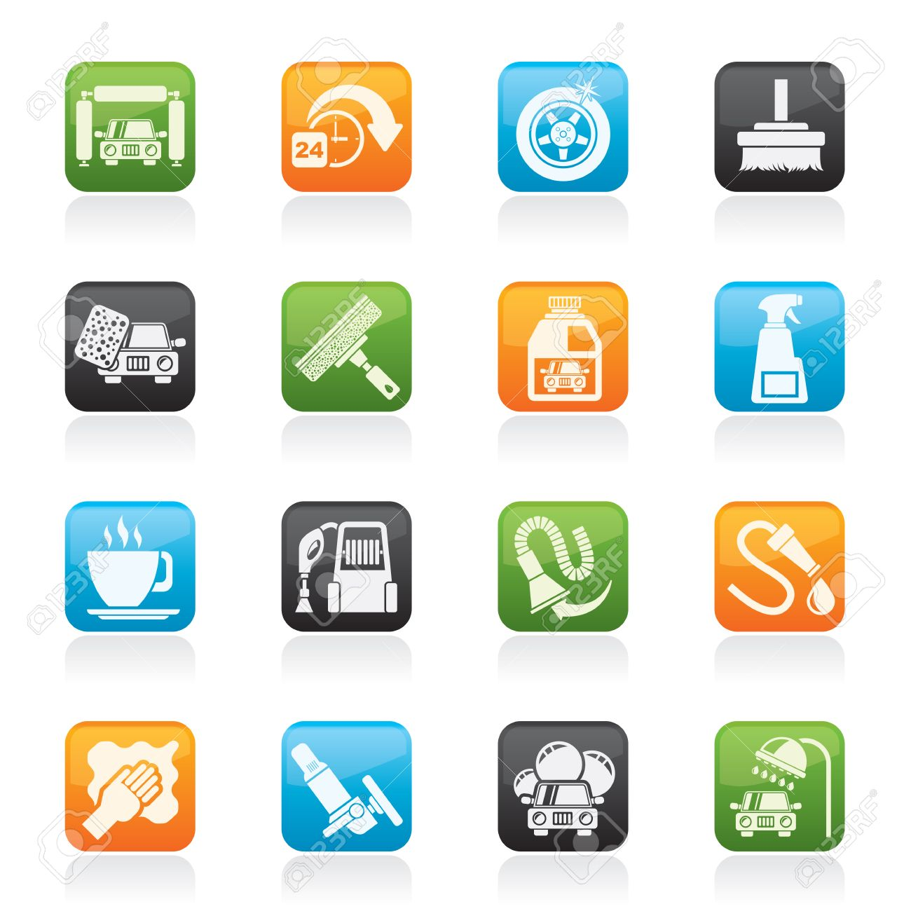 car wash objects and icons - vector icon set - 22737766