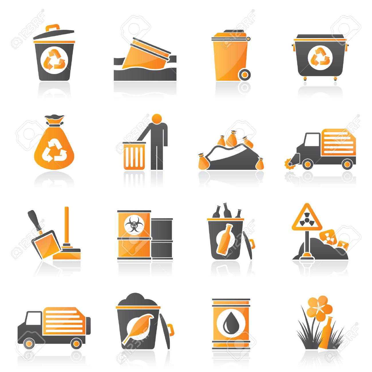 Garbage and rubbish icons - vector icon set Stock Vector - 23241315