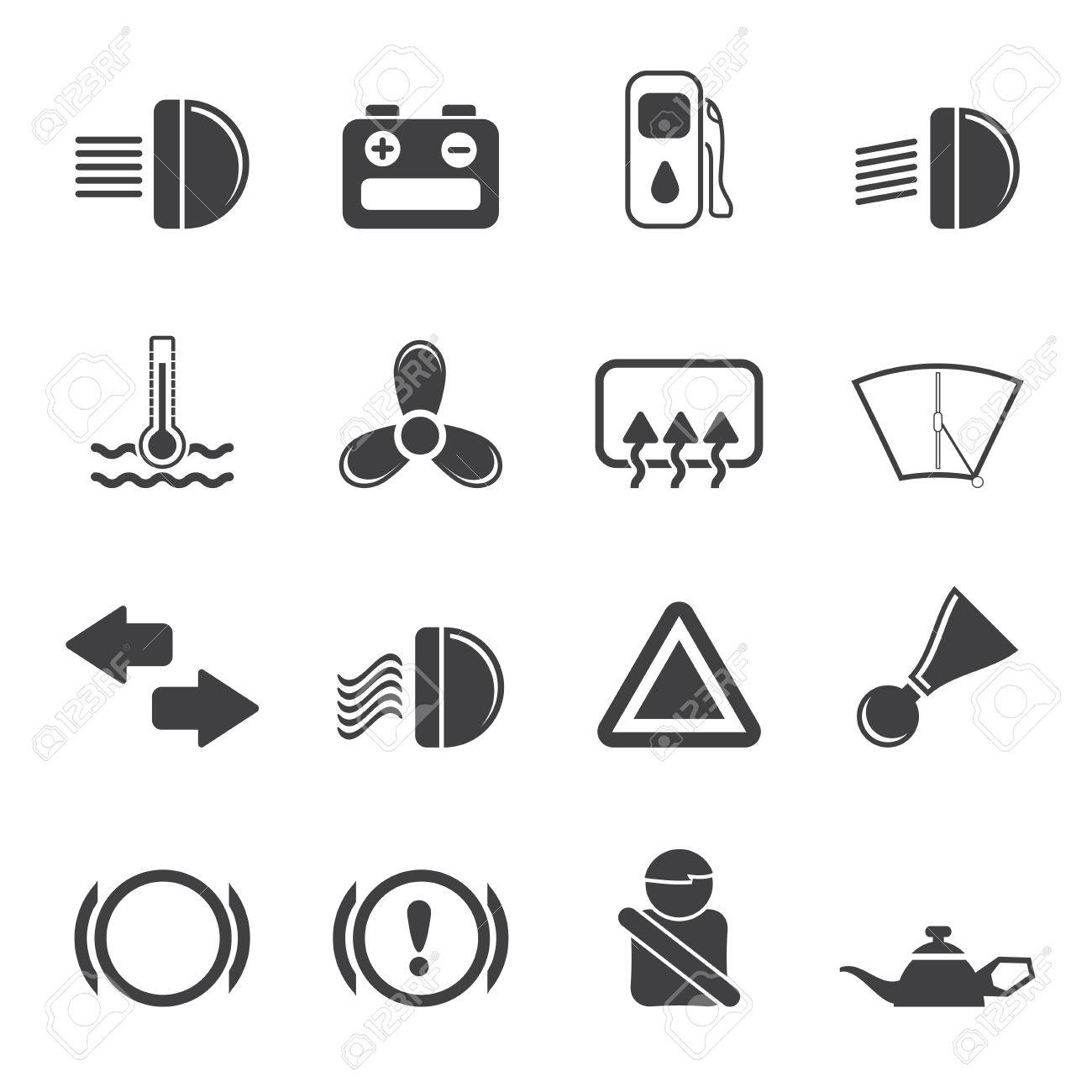 Silhouette Car Dashboard Simple Vector Icons Set Royalty Free - Car image sign of dashboardcar dashboard icons stock images royaltyfree imagesvectors