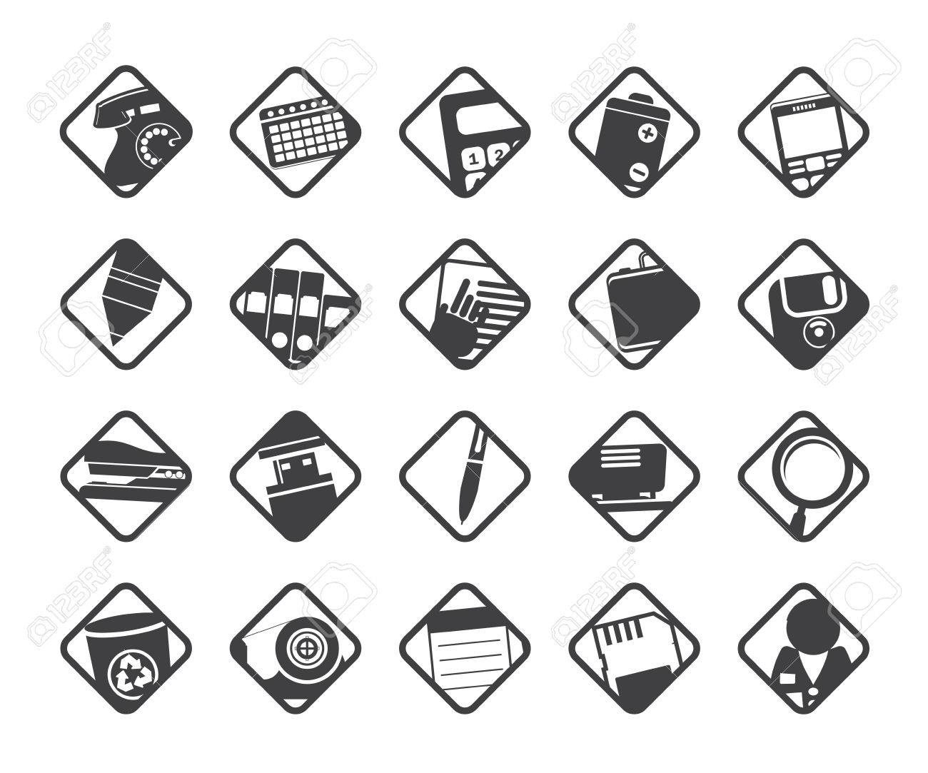 Silhouette Office tools icons -  vector icon set 3 Stock Vector - 24167270
