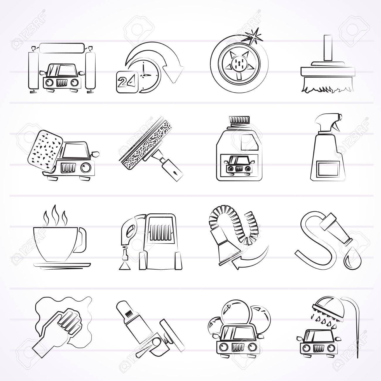 car wash objects and icons - vector icon set Stock Vector - 24914643