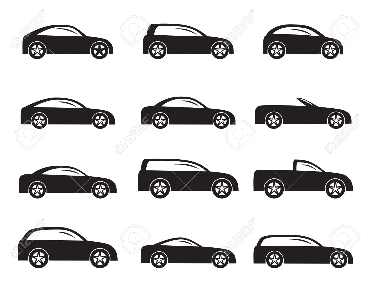 silhouette different types of cars icons vector icon set stock vector 25042173