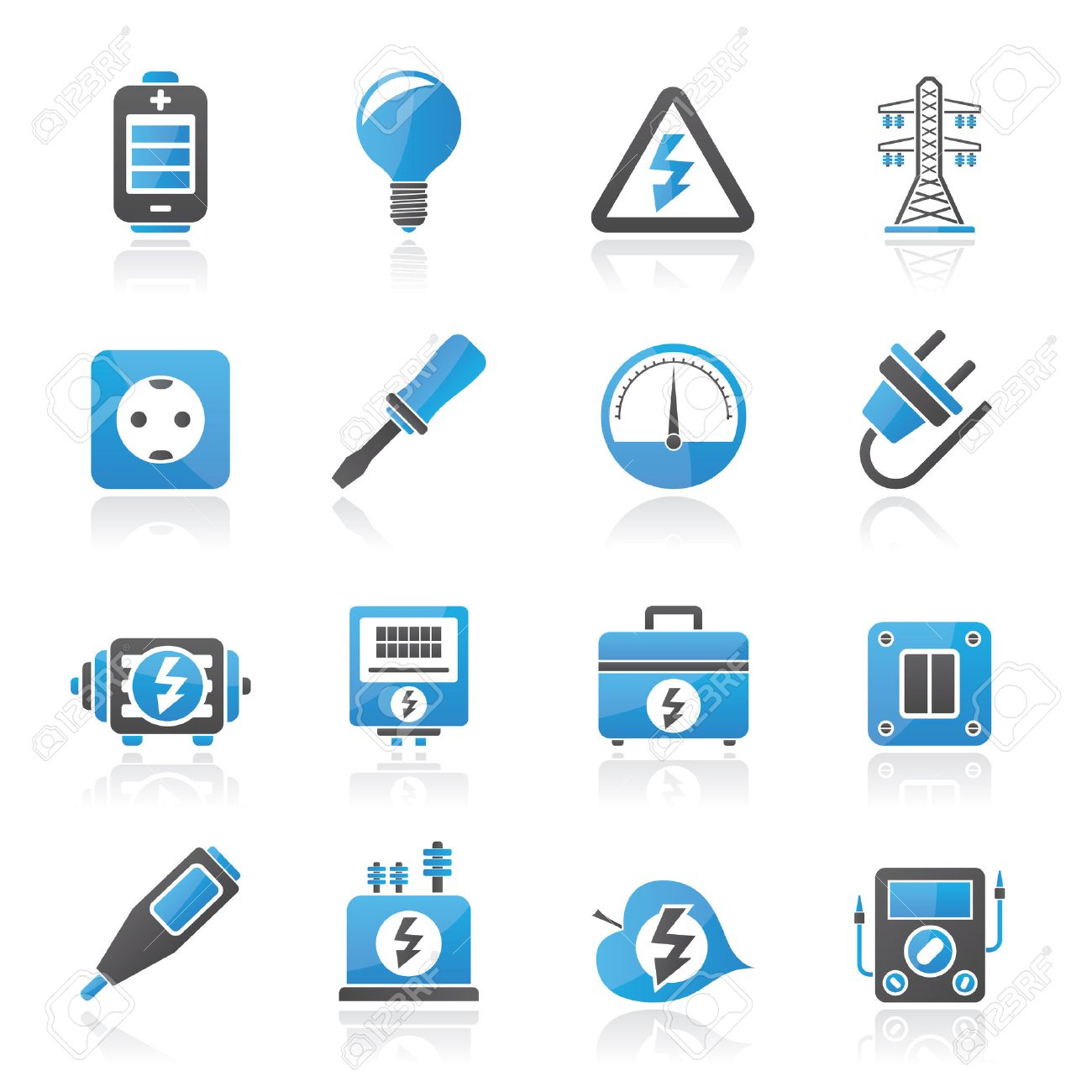 Electricity,power and energy icons - vector icon set - 25211107
