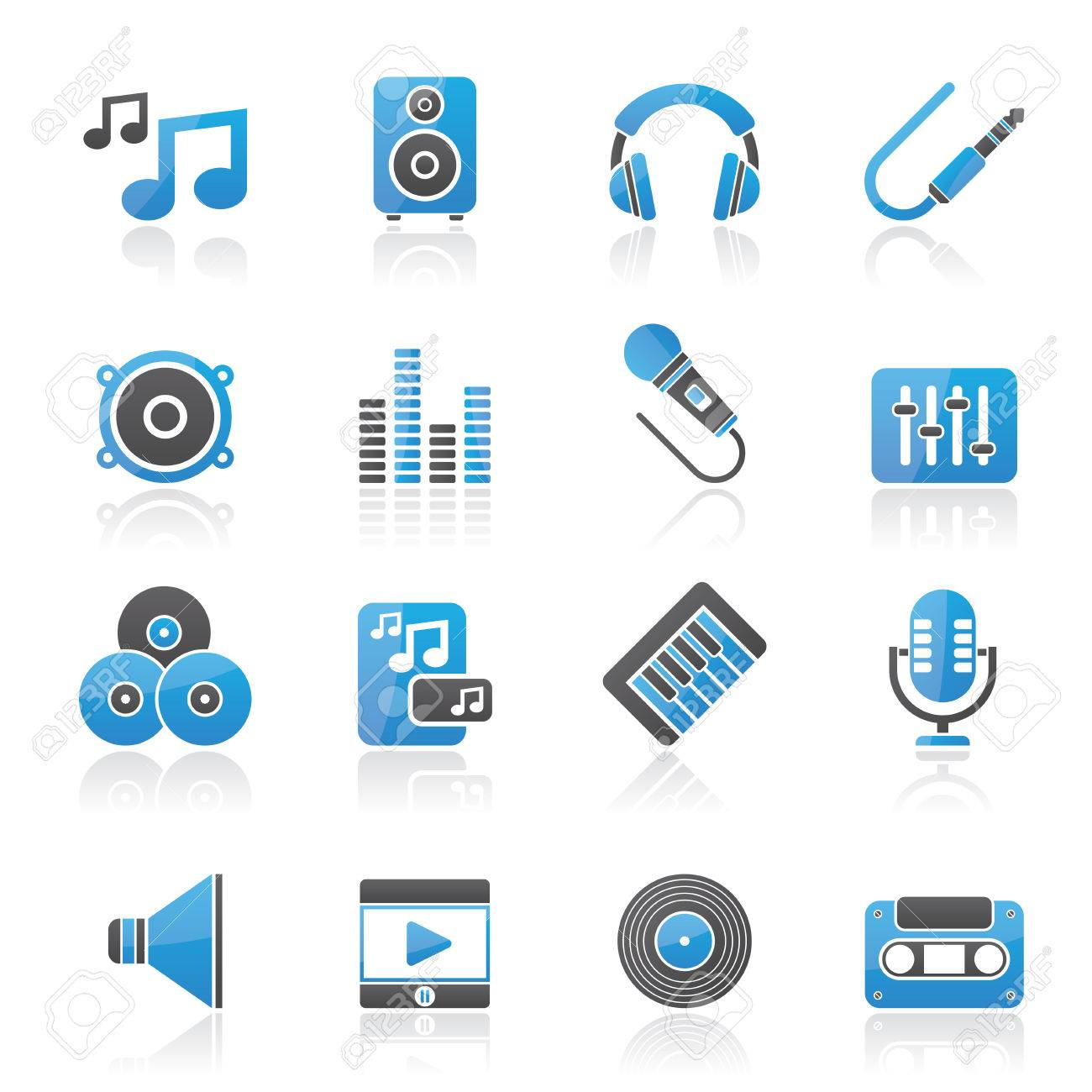 Music, sound and audio icons - vector icon set - 25211109