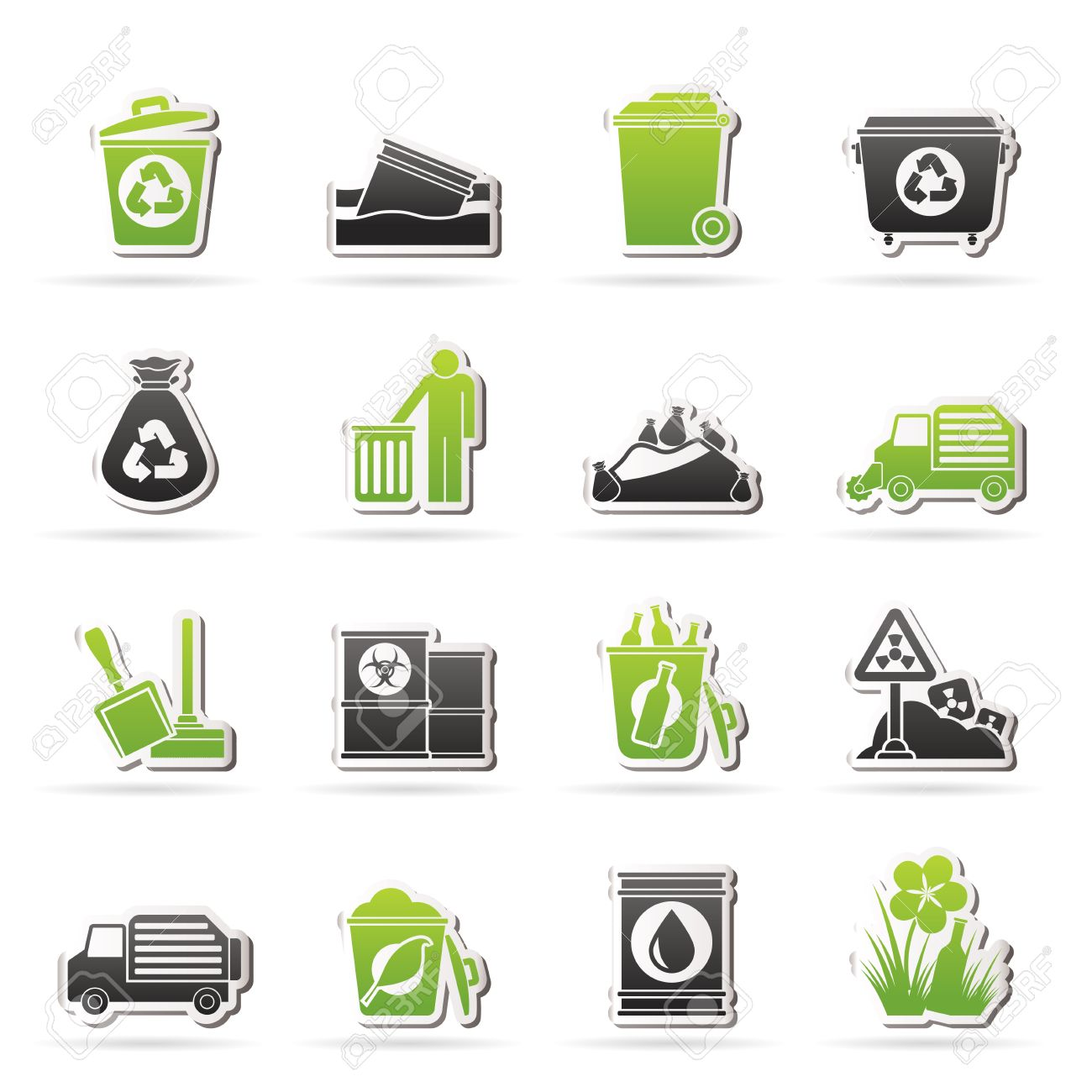 Garbage and rubbish icons - vector icon set Stock Vector - 25211120