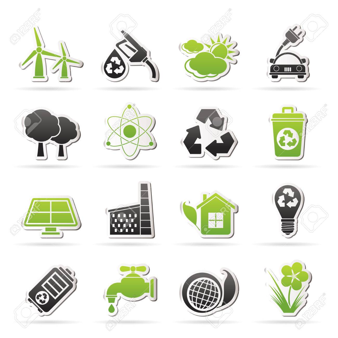 Ecology, environment and recycling icons - vector icon set - 25817080