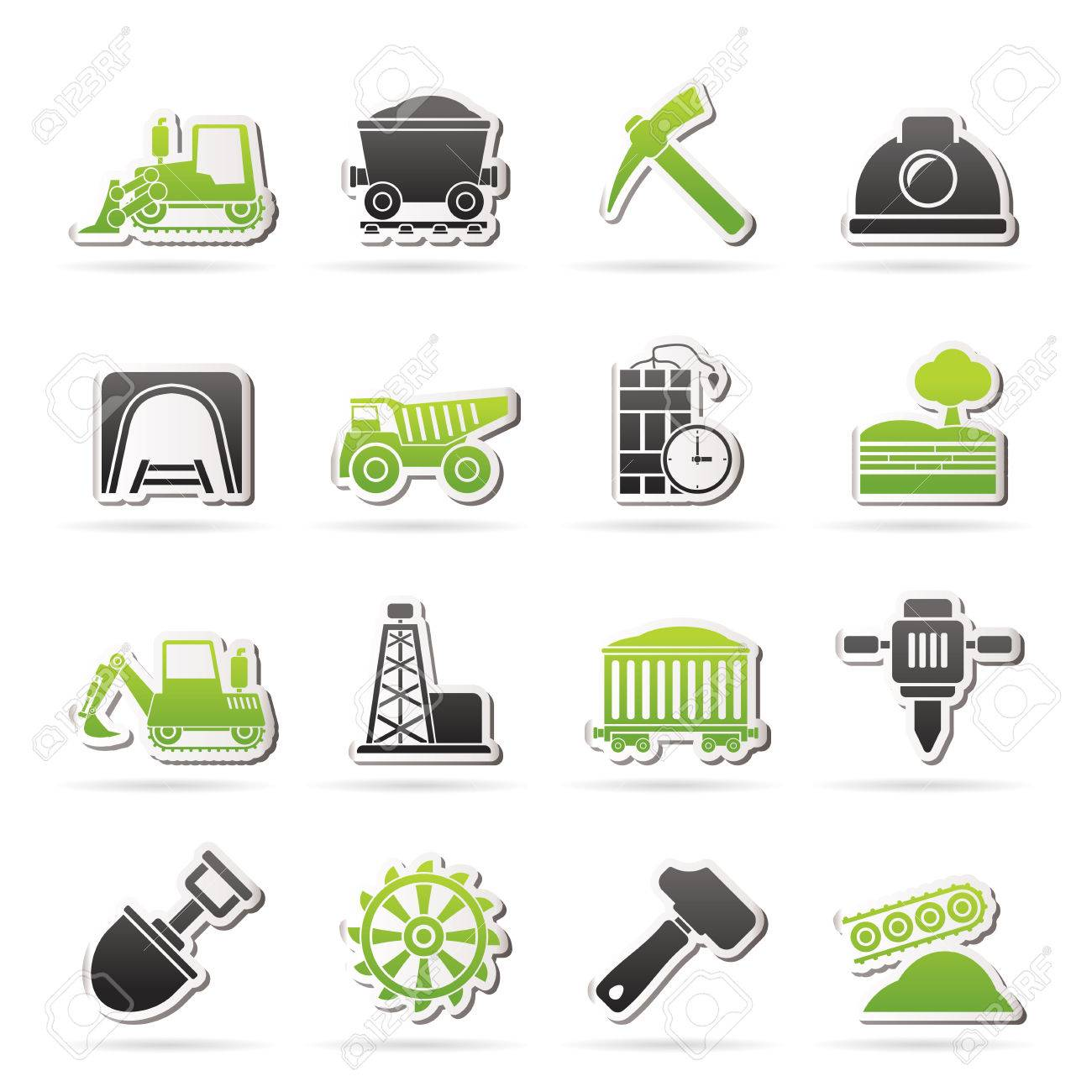 Mining and quarrying industry icons - vector icon set Stock Vector - 26493325