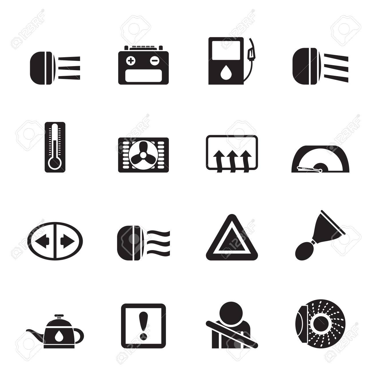 Silhouette Car Dashboard Icons Set Royalty Free Cliparts Vectors - Car image sign of dashboardcar dashboard icons stock images royaltyfree imagesvectors