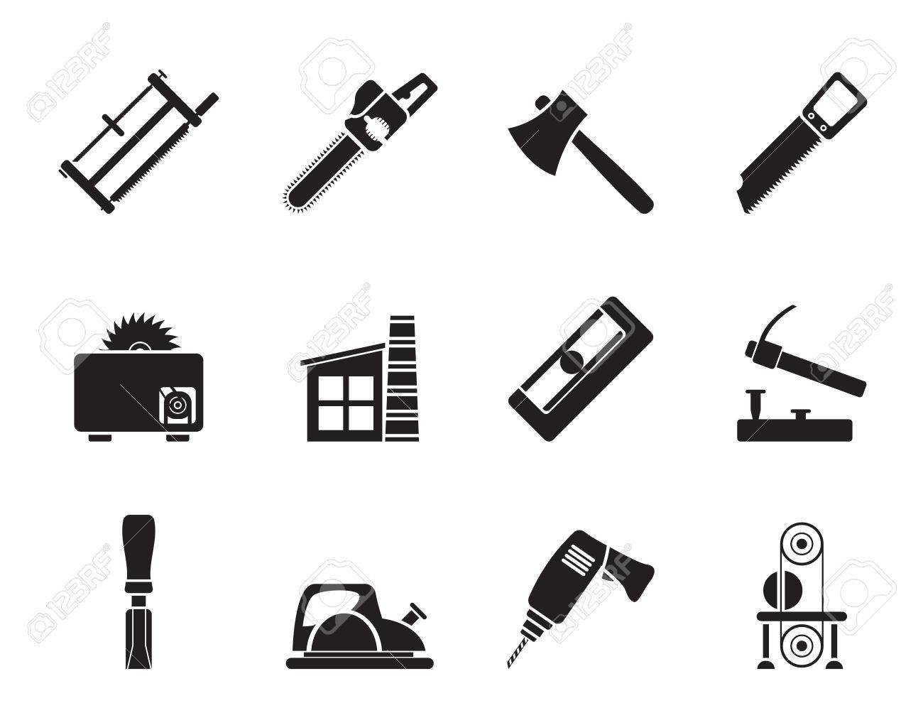 Silhouette Woodworking Industry And Woodworking Tools Icons Royalty