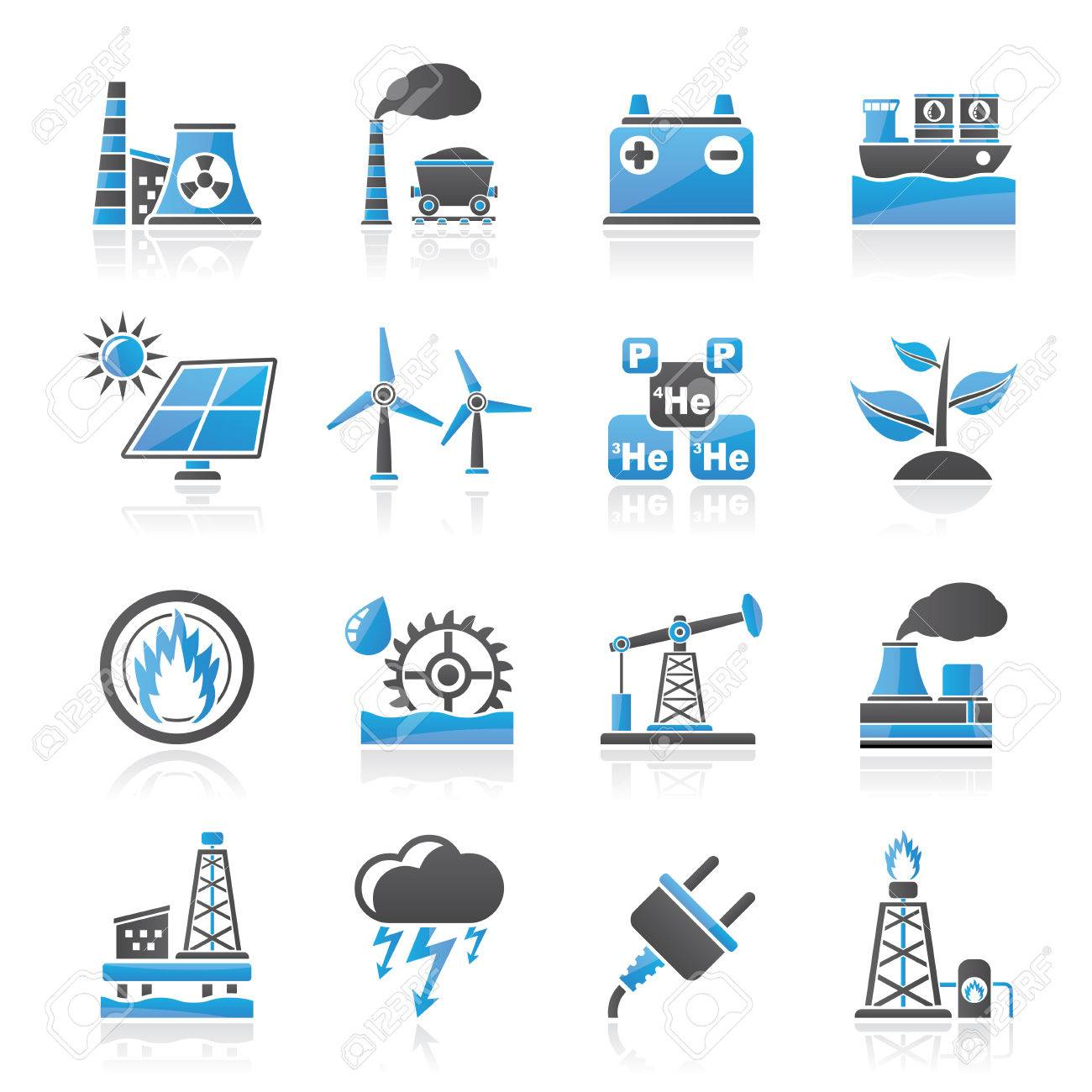 Electricity and Energy source icons - vector icon set - 27447393