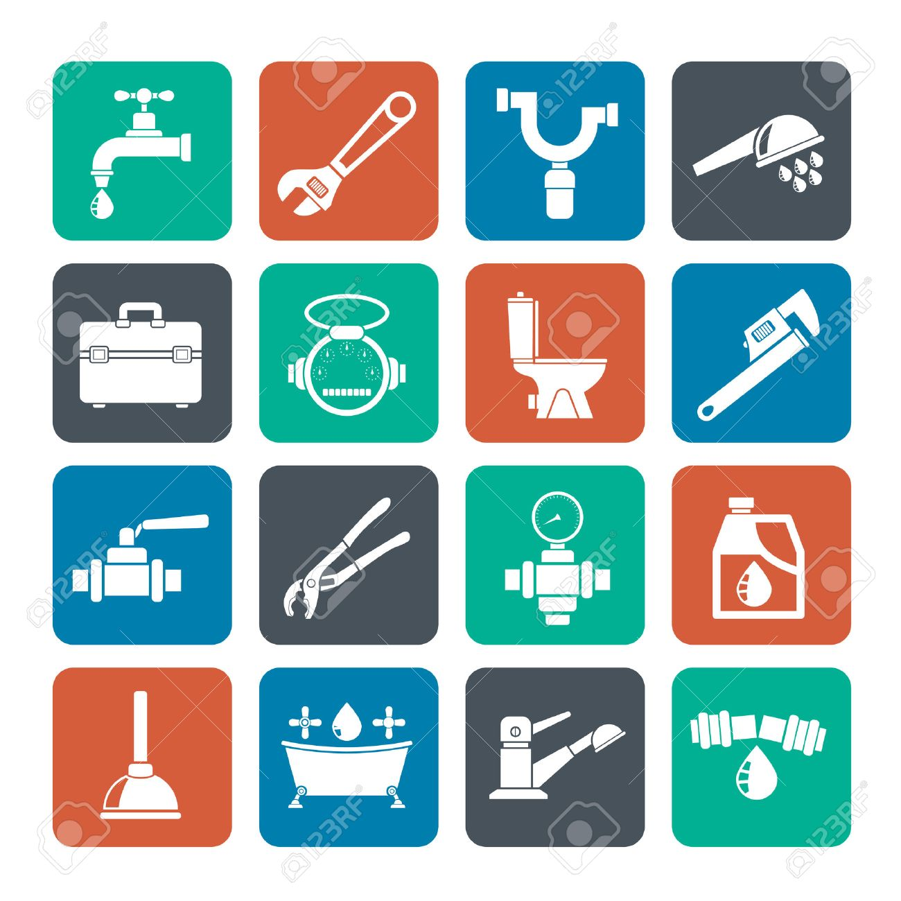 Silhouette plumbing objects and tools icons - vector icon set - 32210499