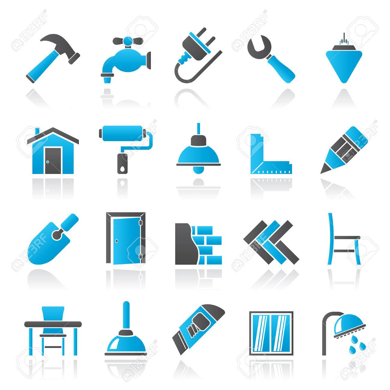 Building and home renovation icons - vector icon set - 34007592