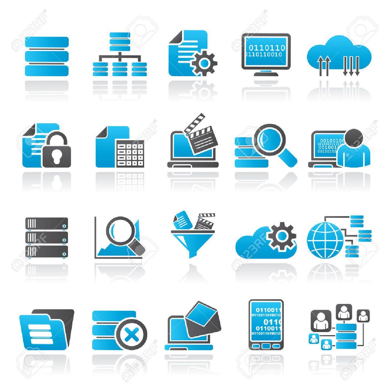 data and analytics icons - vector icon set - 34007694