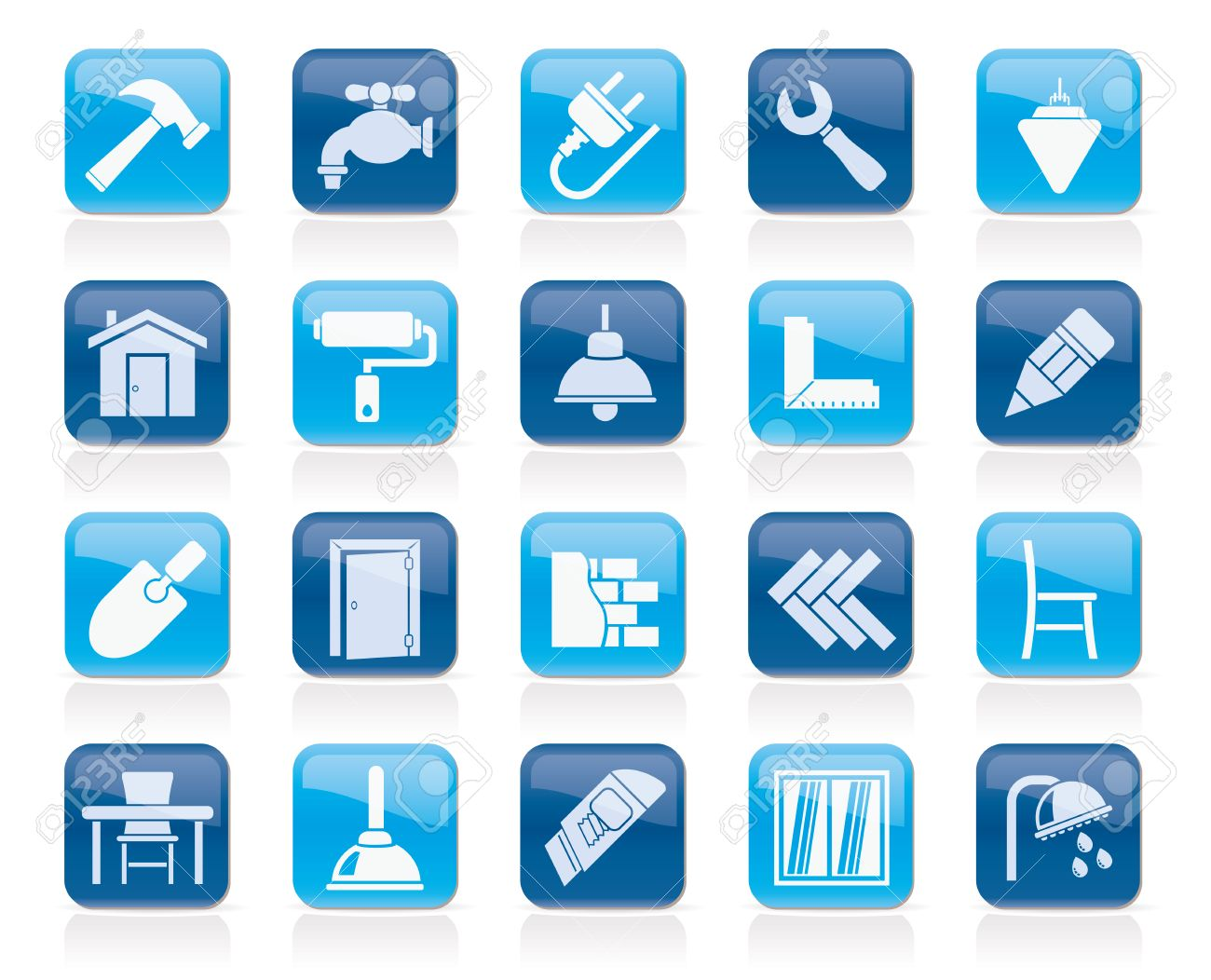 Building and home renovation icons - vector icon set - 34599605