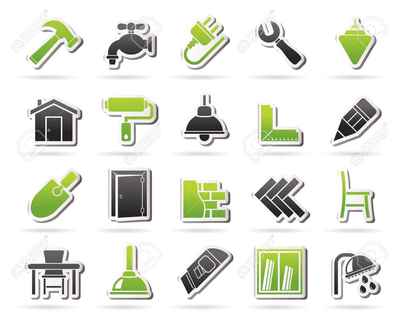 building and home renovation icons vector icon set stock vector 36573708