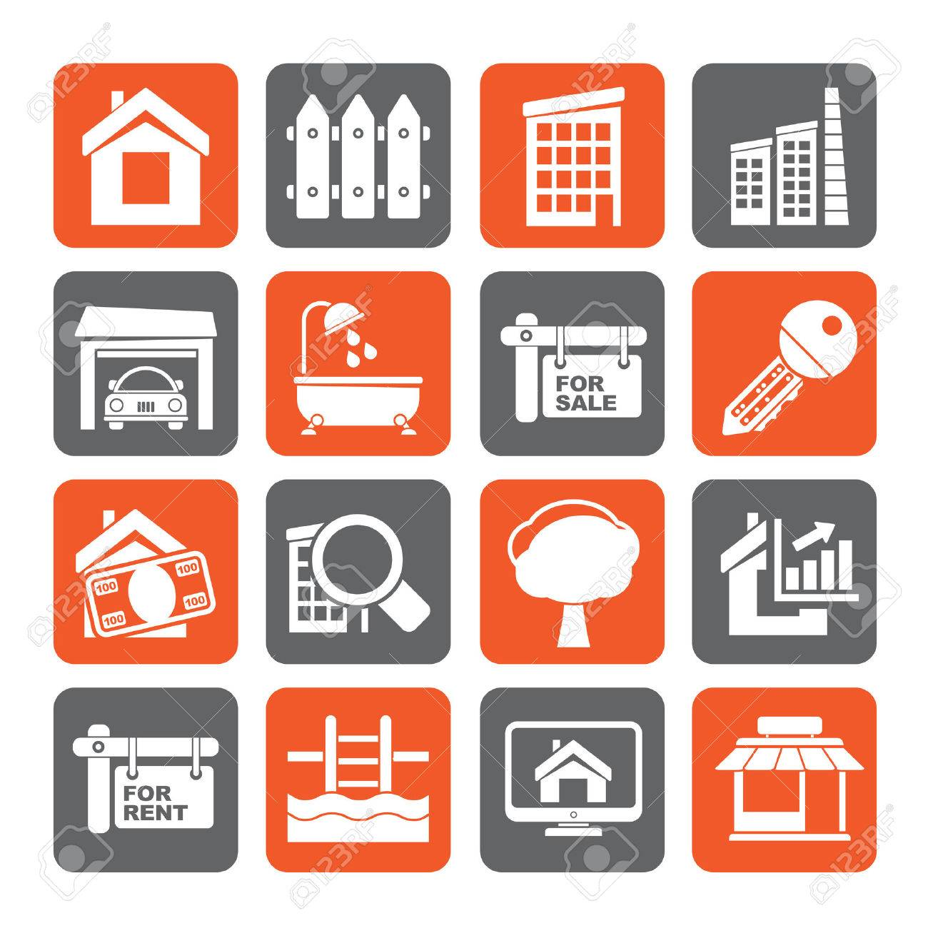 Silhouette Real Estate Icons - Vector Icon Set - 38624289