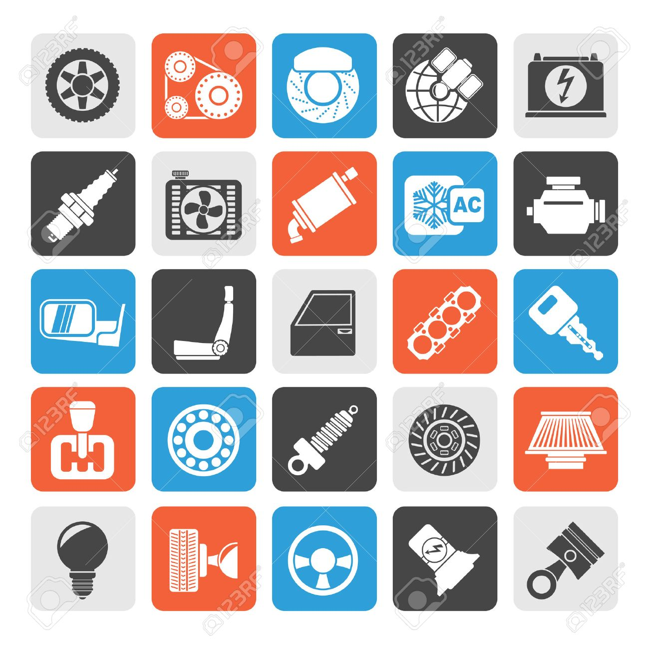 Silhouette Car parts and services icons vector icon set - 40872443