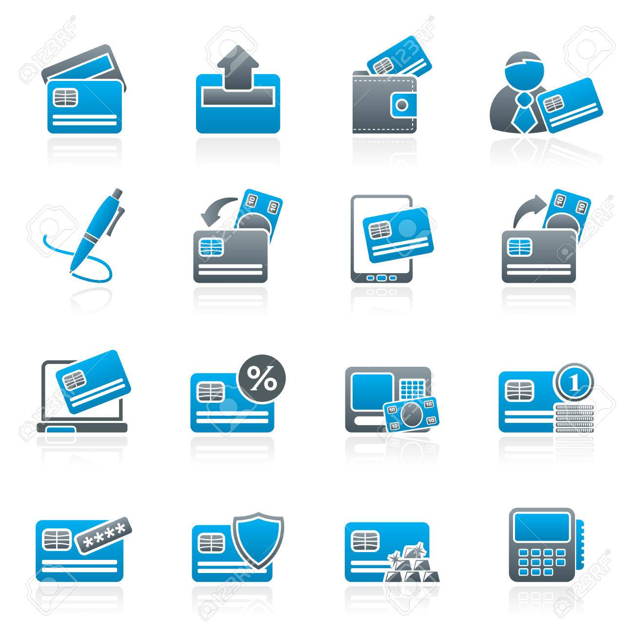 credit card pos terminal and atm icons vector icon set royalty free