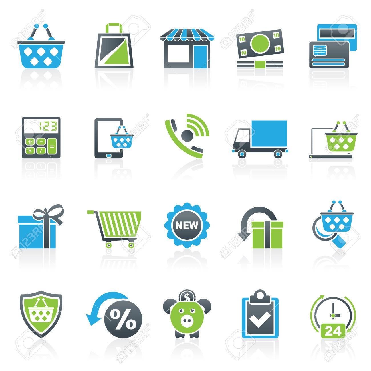 on line shop and E-commerce icons - vector icon set - 42961592