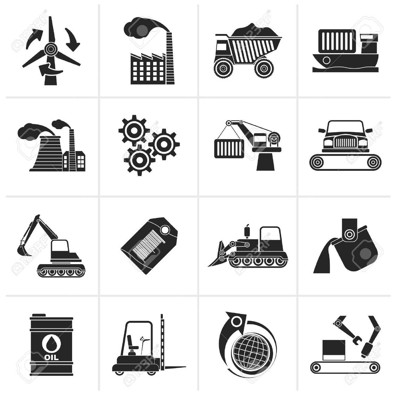 Black different kind of business and industry icons - vector icon set - 46281747