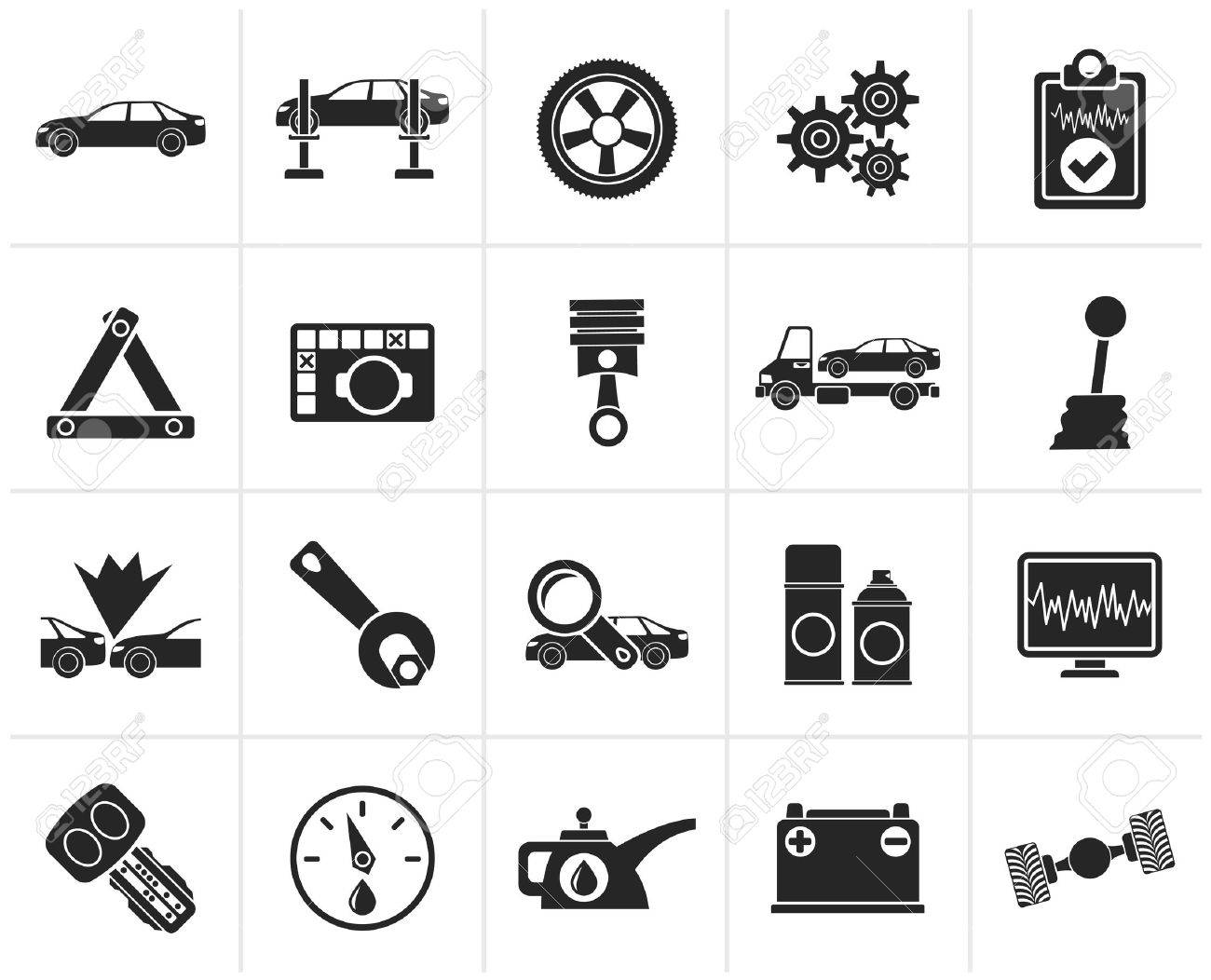 Black car services and transportation icons - vector icon set - 46281996
