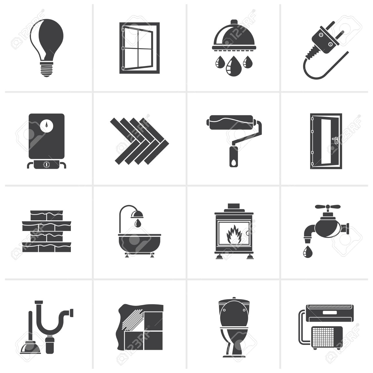 black construction and home renovation icons vector icon set stock vector 46611793