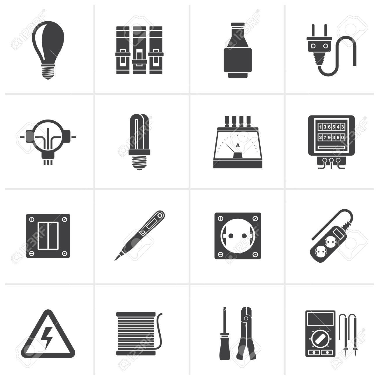 Black Electrical Devices And Equipment Icons Vector Icon Set