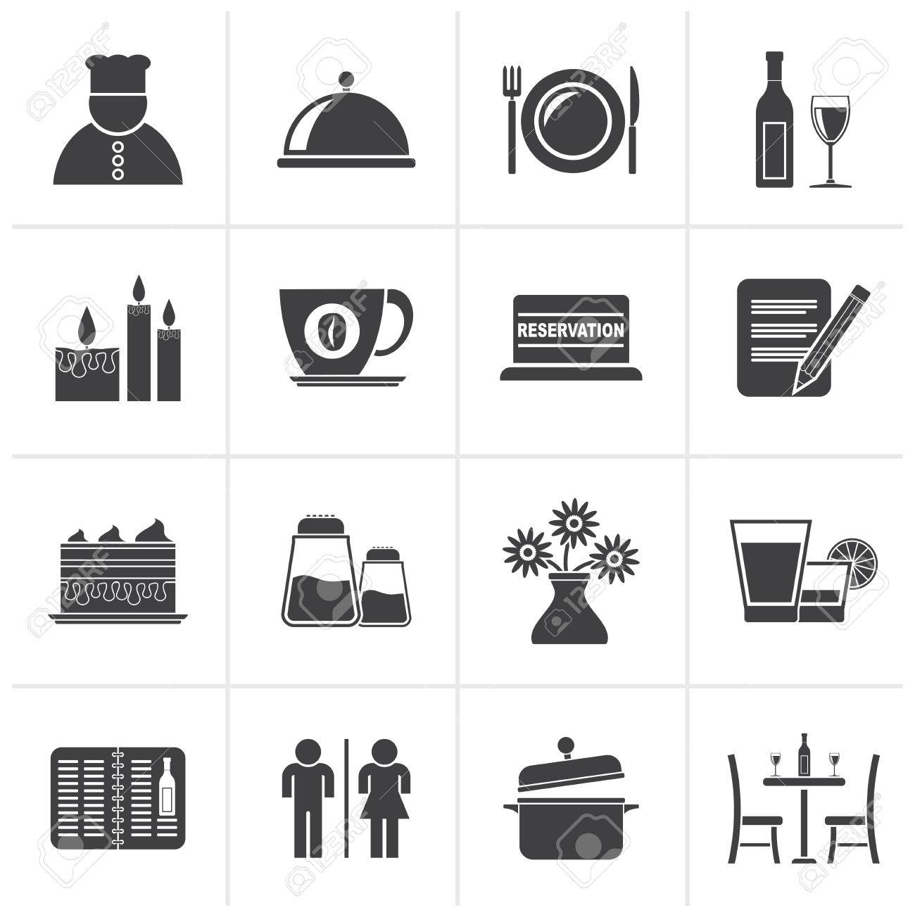 Black Restaurant Cafe And Bar Icons Vector Icon Set Royalty Free Cliparts Vectors And Stock Illustration Image 48221005