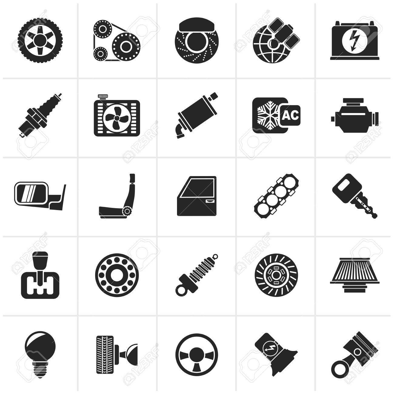 Black Car parts and services icons - icon set - 48471925