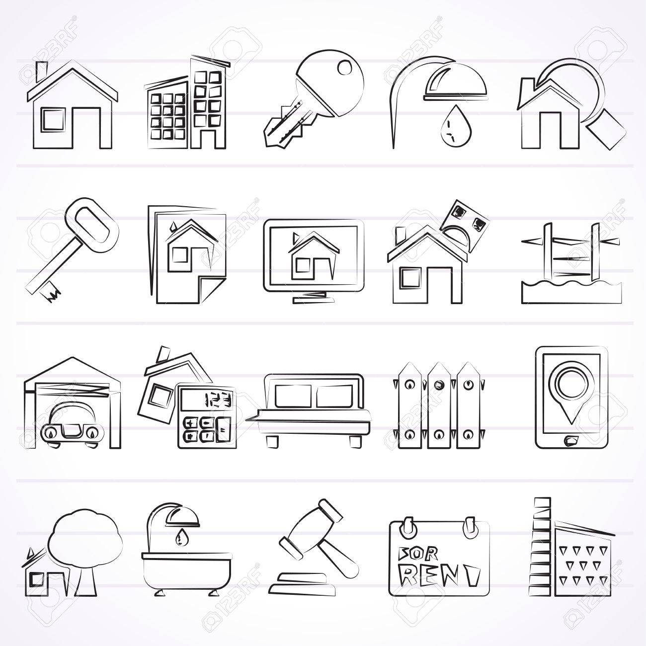 Real Estate business Icons - Vector Icon Set - 50847455