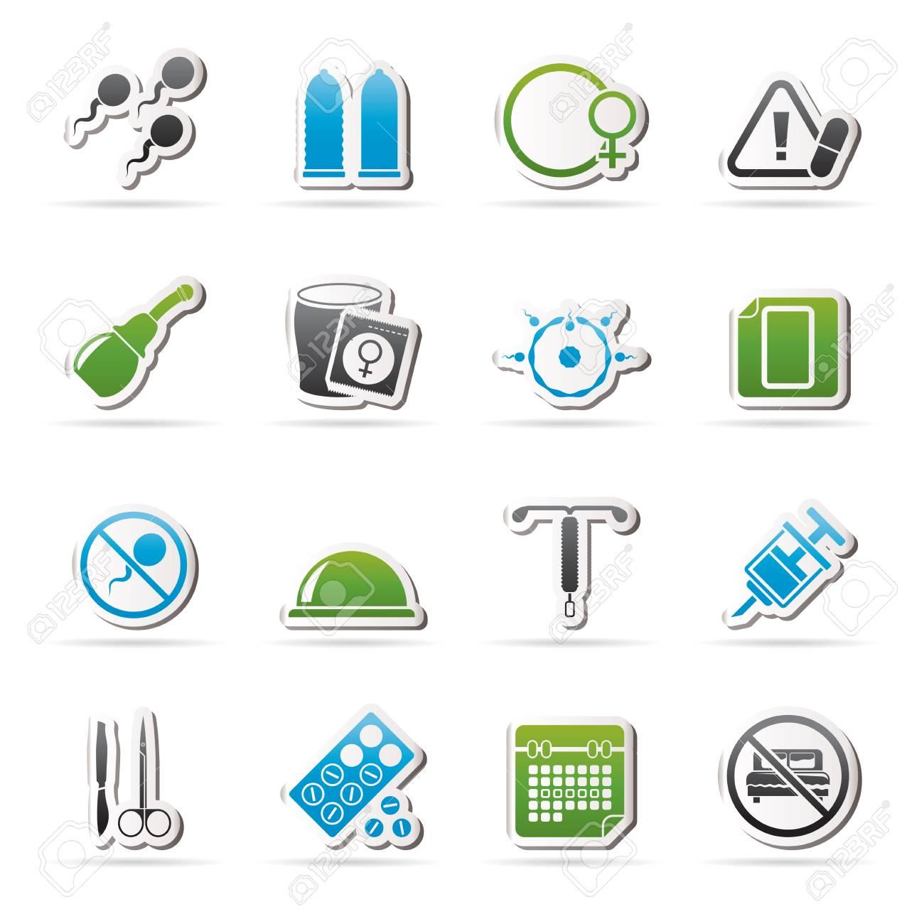 bacdc81f1 El embarazo y la anticoncepción de iconos - vector icono conjunto Foto de  archivo - 53383334