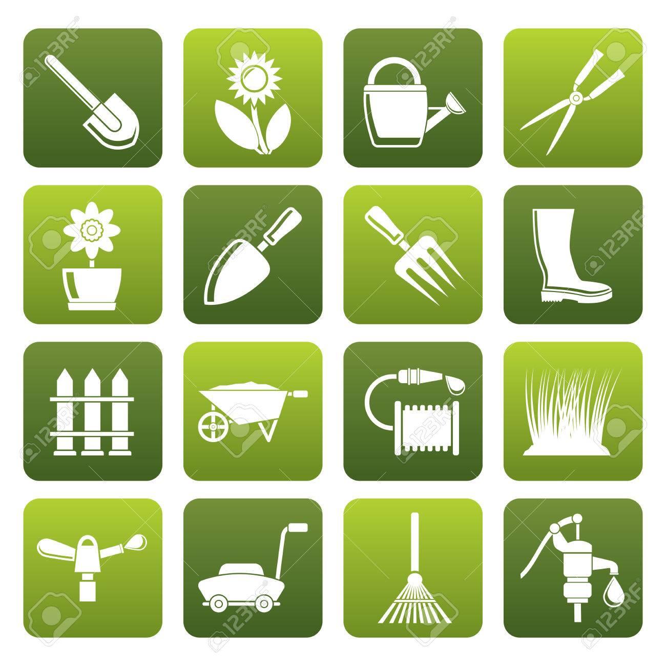Schwarzer Garten Und Gartengeräte Und Objekte Icons Icon Set