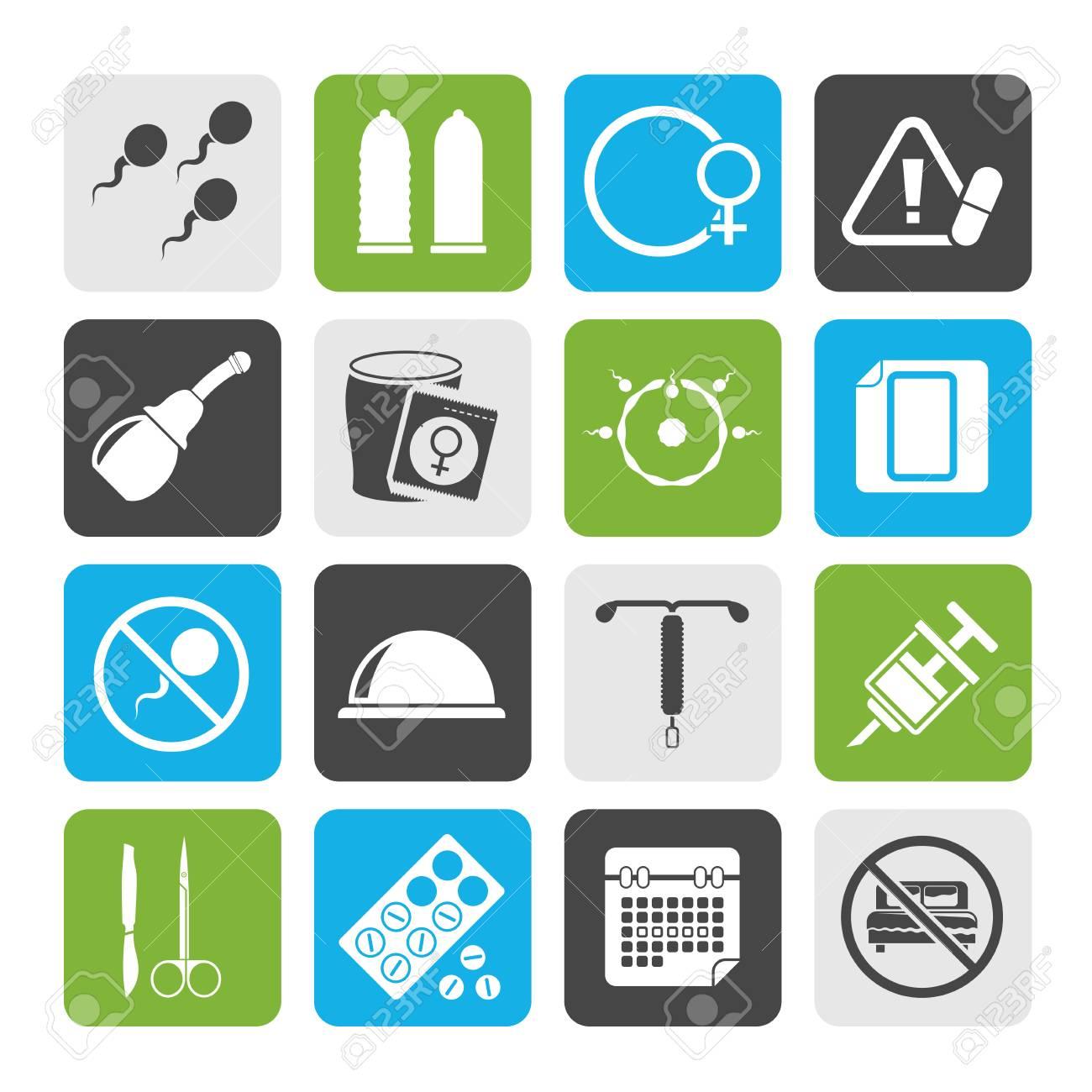 17fa0904a Foto de archivo - Silueta de iconos de embarazo y anticoncepción - conjunto  de iconos de vector