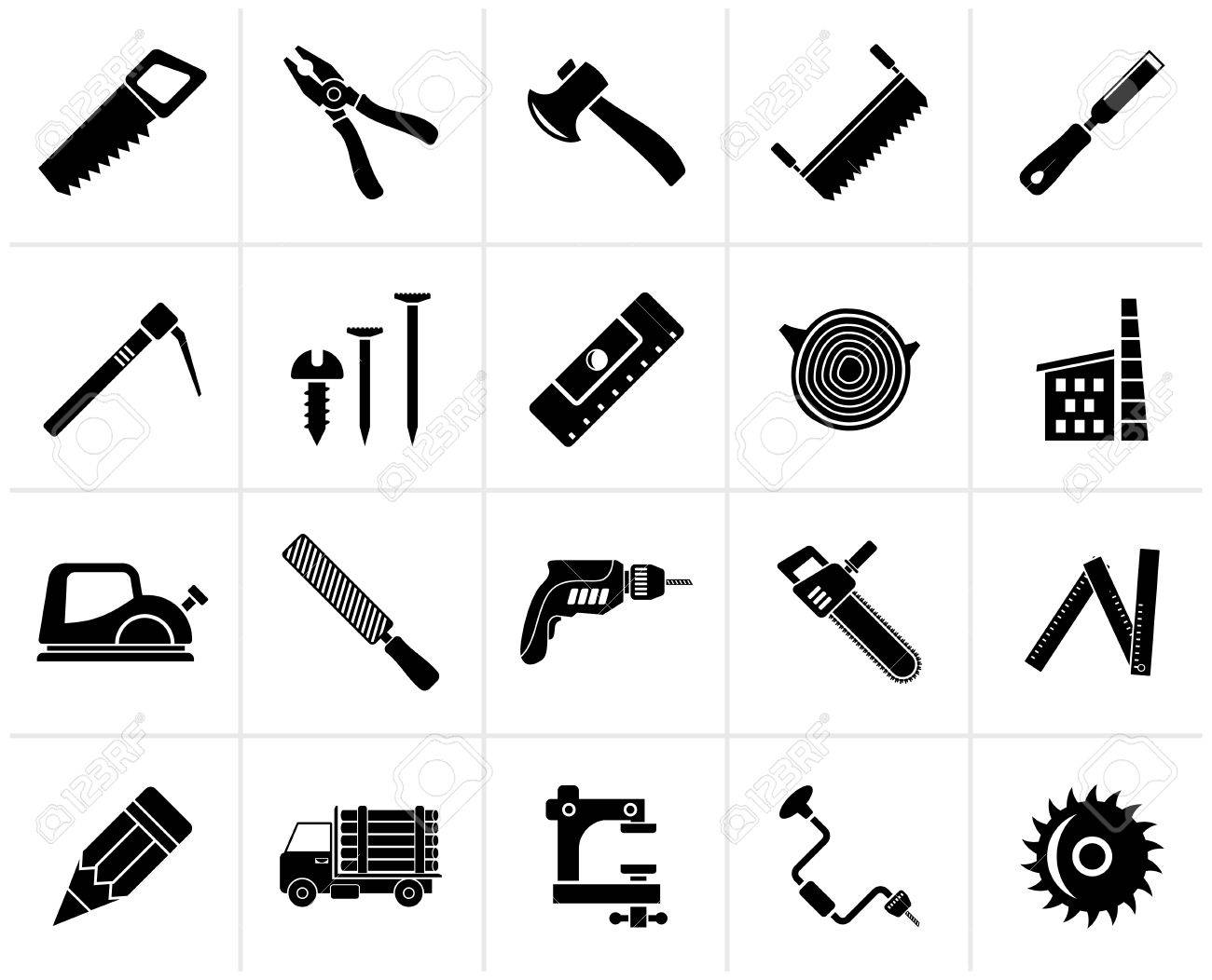 Black Carpentry Logging And Woodworking Icons Vector Icon Royalty Free Cliparts Vectors And Stock Illustration Image 67894390
