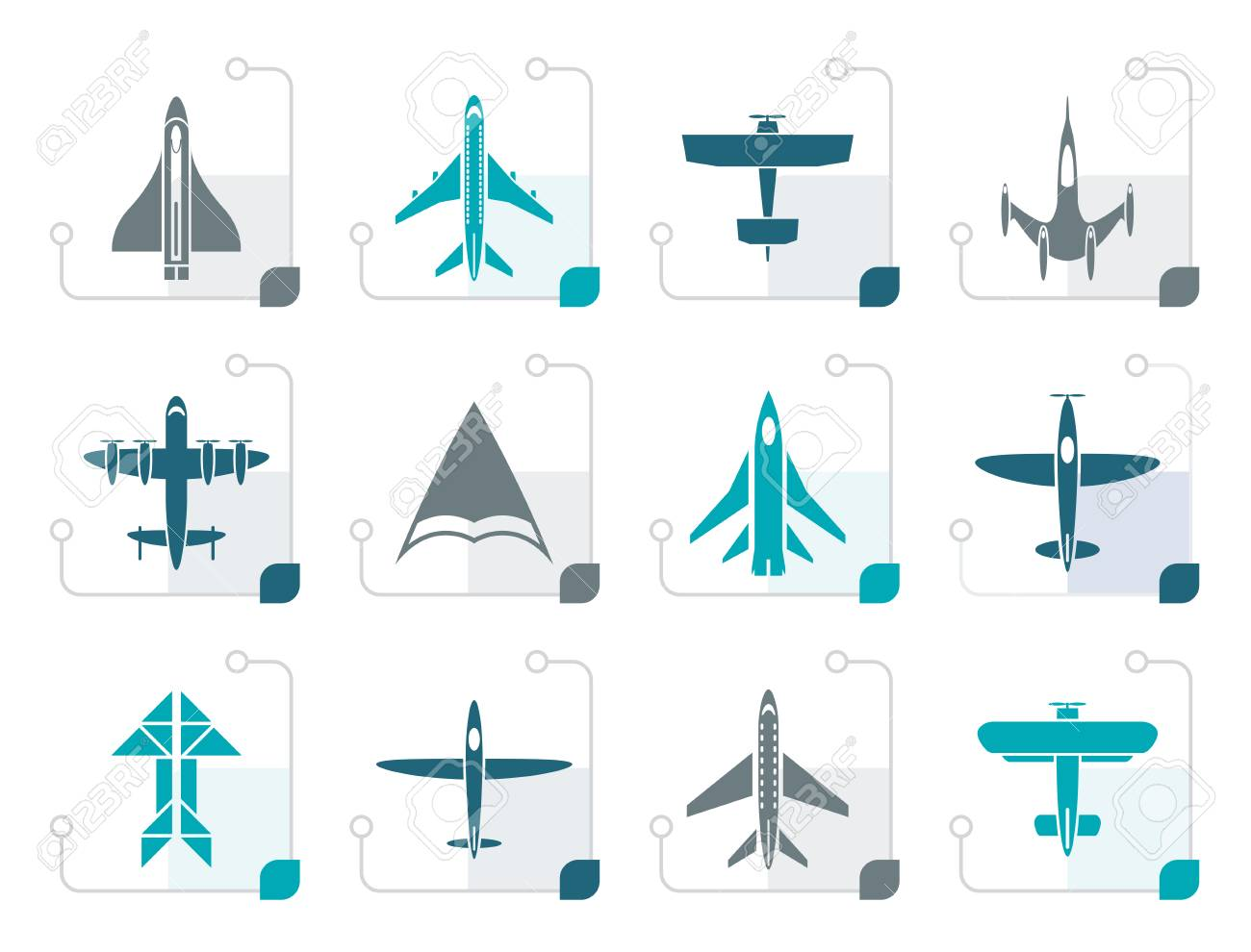 Stylized different types of plane icons - vector icon set - 74538945
