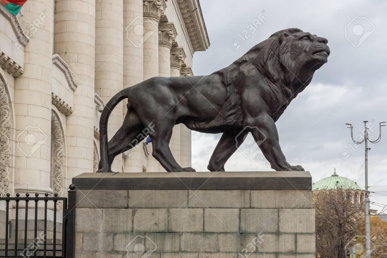 SOFIA, BULGARIA NOVEMBER 12, 2017: Statue of the Lion of the..