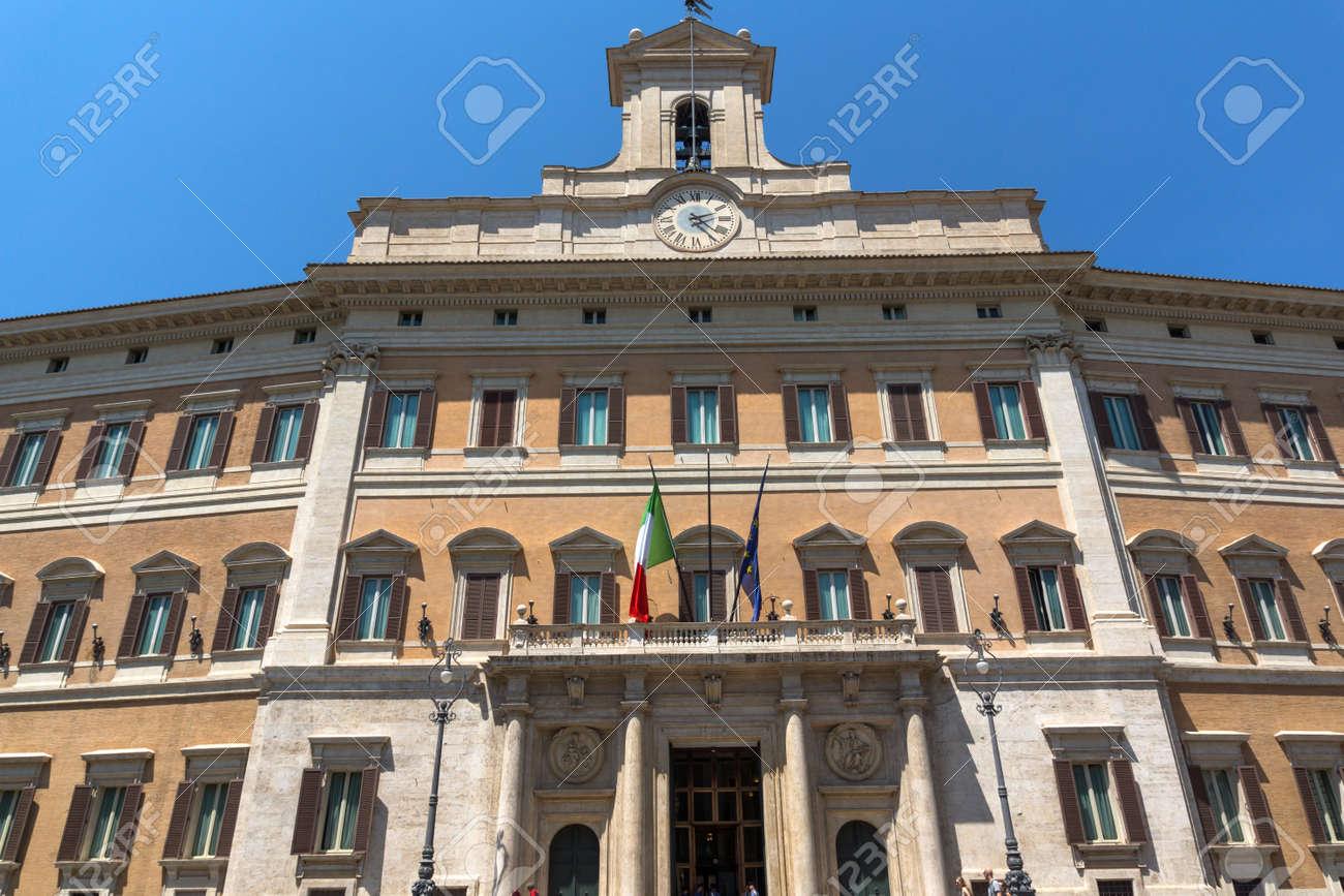 ROME, ITALY - JUNE 23, 2017: Amazing view of Palazzo Montecitorio in city of Rome, Italy - 128931384