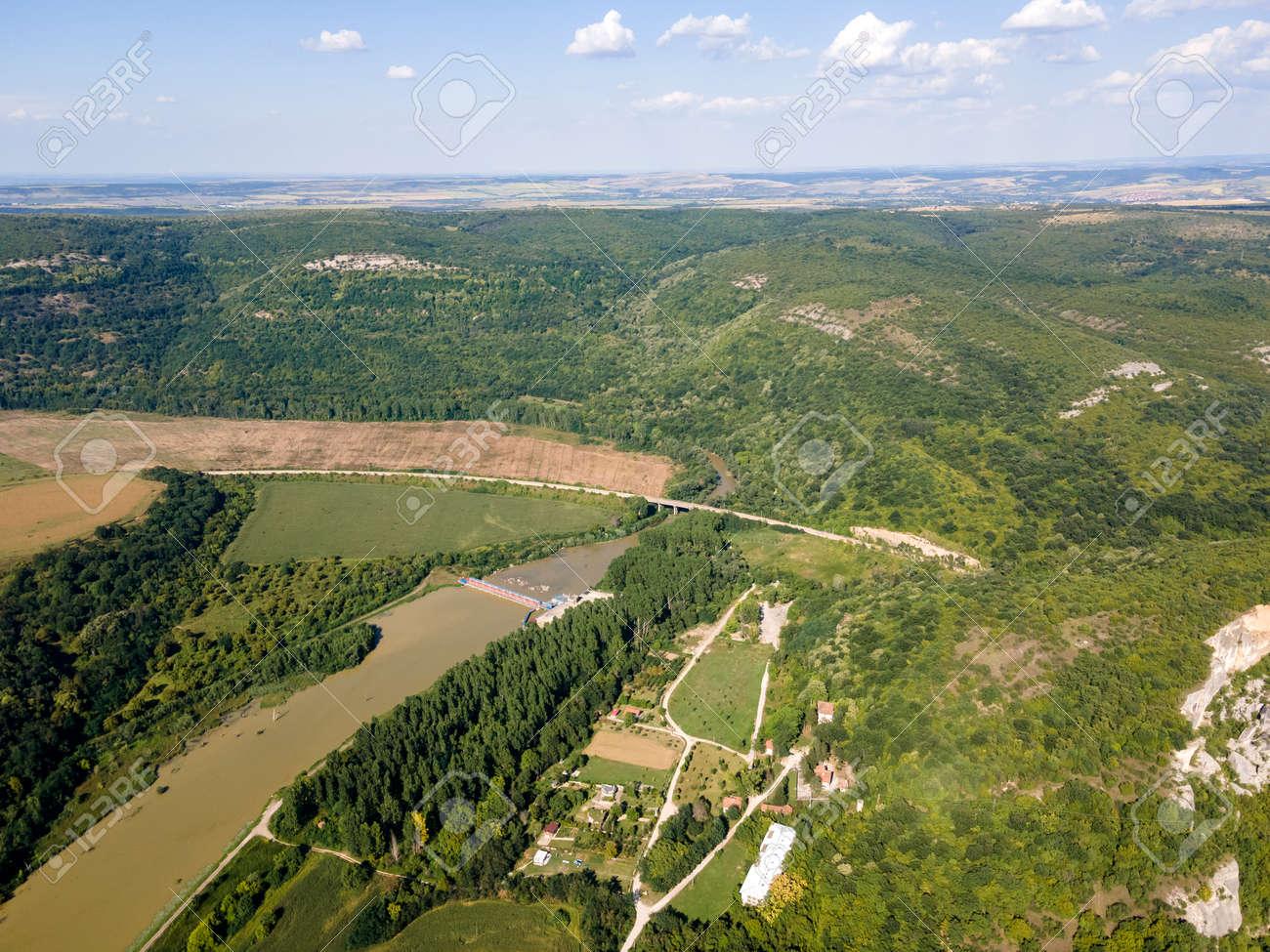 Aerial view of Iskar river, passing near village of Karlukovo, Balkan Mountains, Bulgaria - 157828711