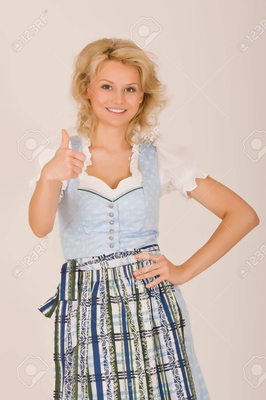 Bavarian Dirndl girls, thumbs up Stock Photo - 10401741