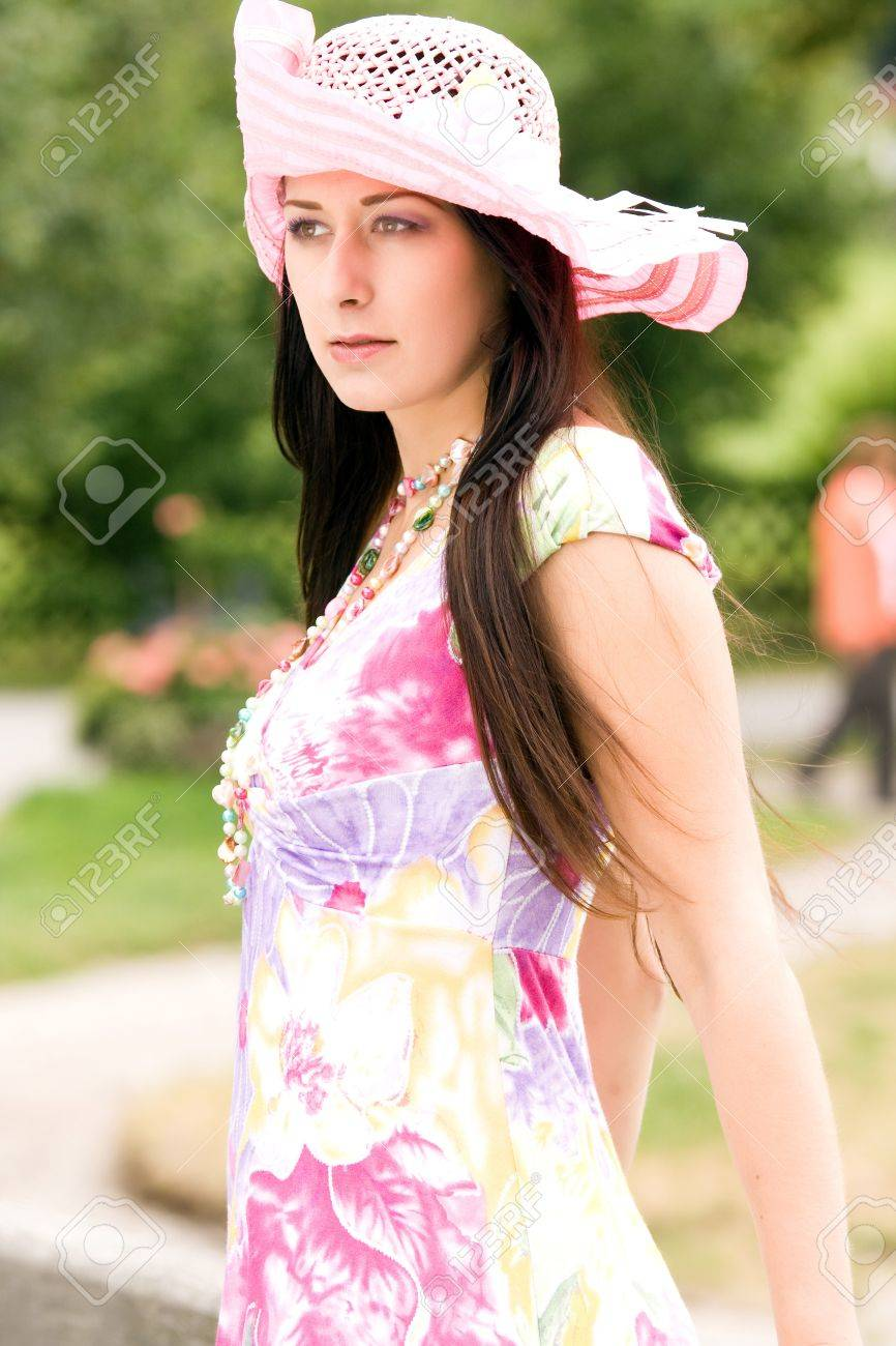 Young German Plus Size Model In A Summer Dress With Hat Stock Photo ... af40245b24f