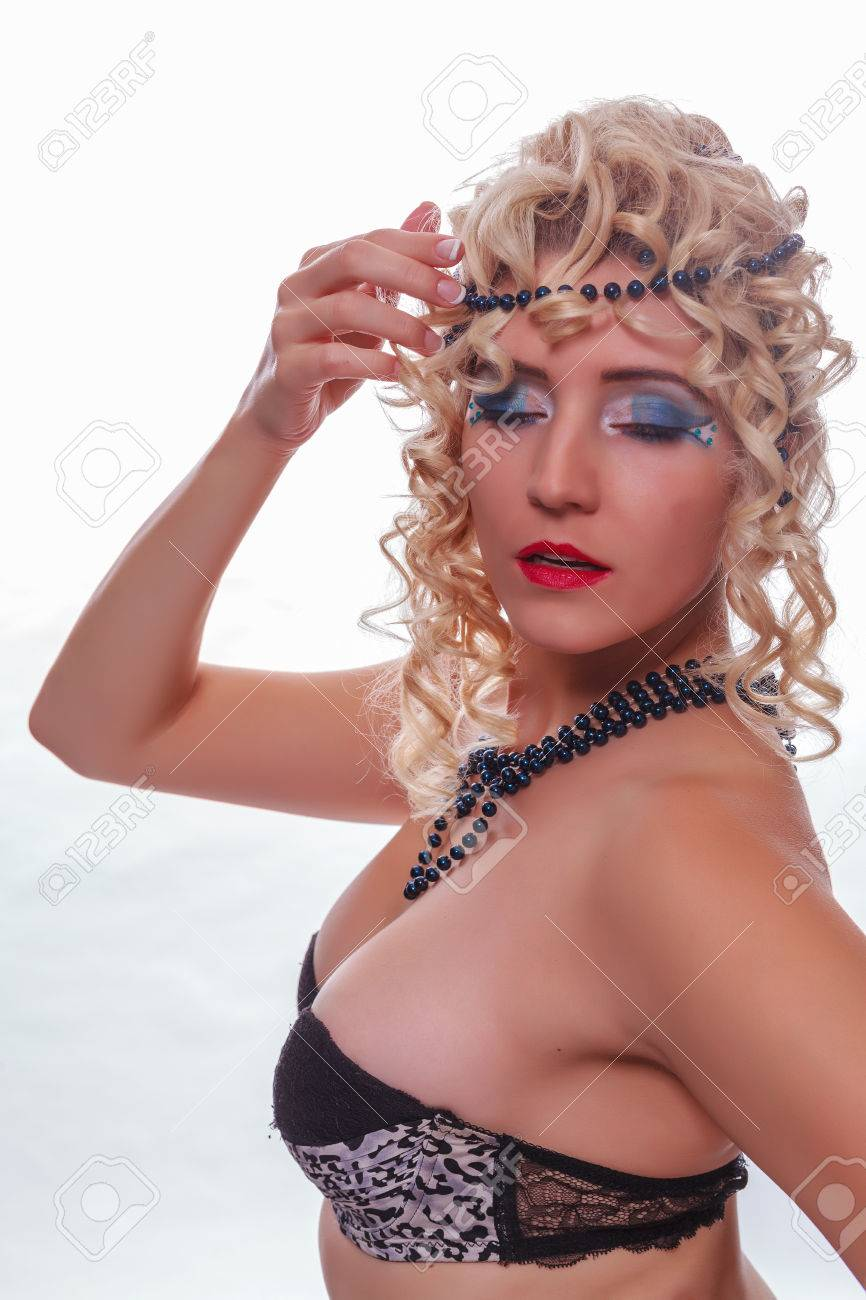Busty Beauty, Enclosed With Curly Blond Hair, Pearls In Her Hair ...
