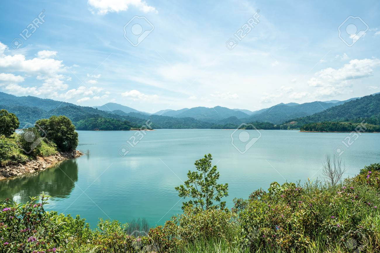 Scenic view of Selangor River Dam with blue sky as background