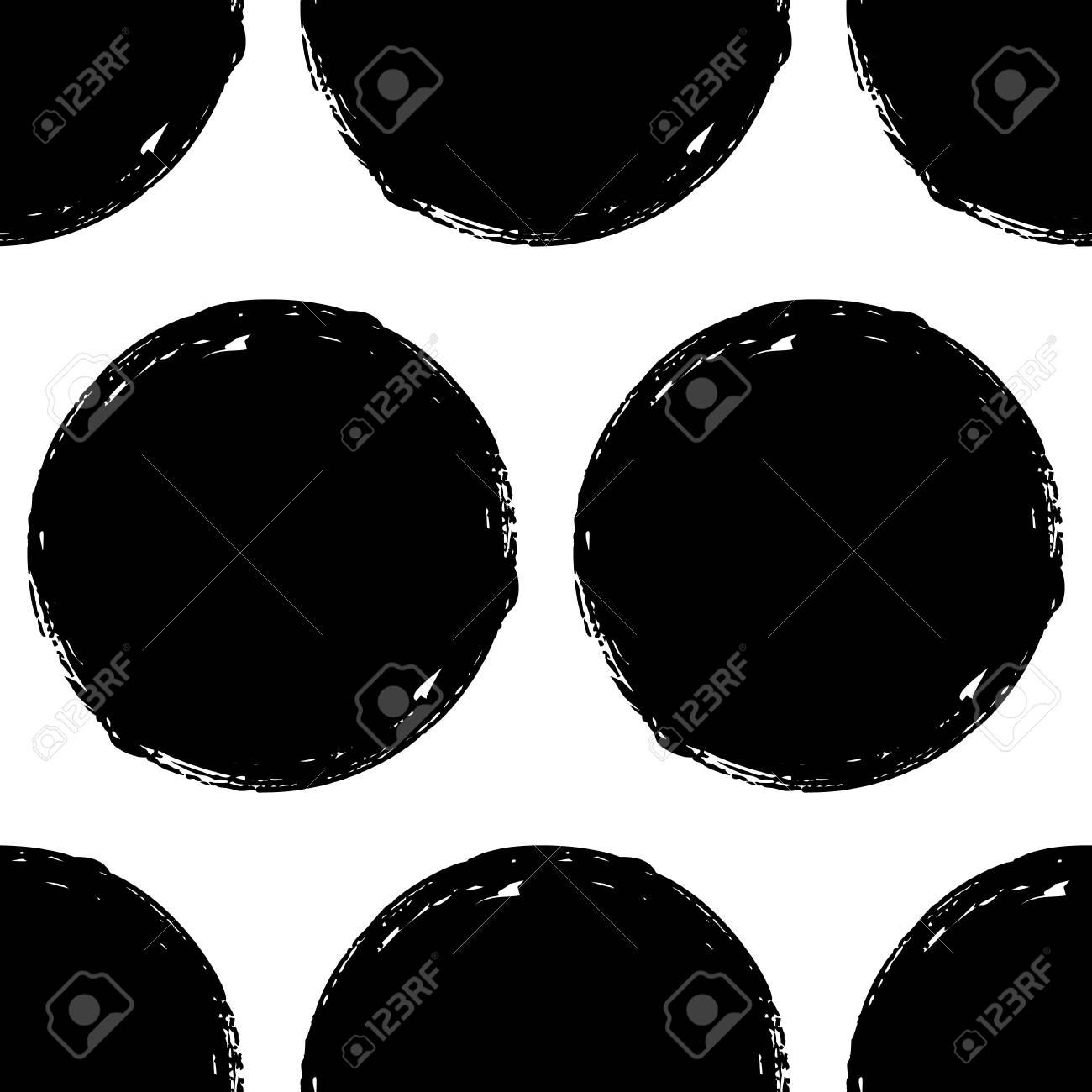 Seamless pattern with grunge circles. Geometric graphic design element. Black white hand painted brush stroke texture. Hand drawn round shapes background. Vector illustration - 92950720