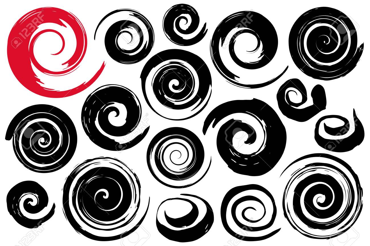 Whimsical spiral symbols set hand painted with ink watercolor brush. Modern swirling blob button. Decorative circular coil ornament. Radial rotation snail. Graphic design element. Vector illustration. - 123756091