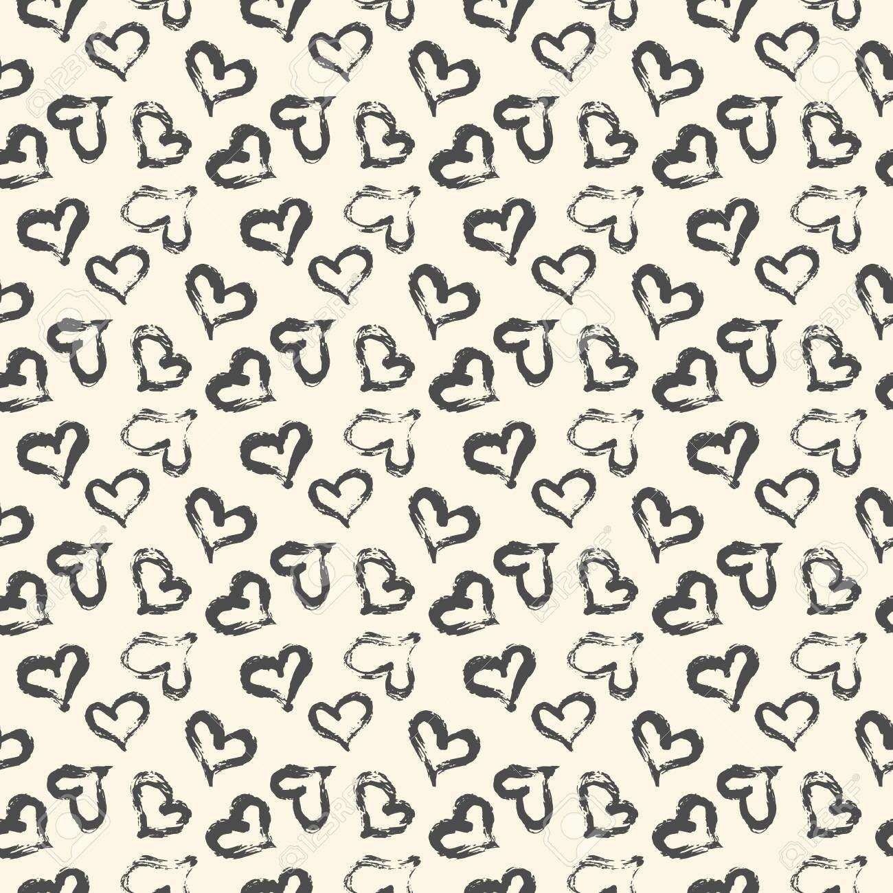 Seamless heart pattern hand painted with ink brush. Graphic design element. Scrapbooking, Valentine's Day card, wallpaper, baby shower, wedding invitation. Vintage style tileable vector illustration - 123689371