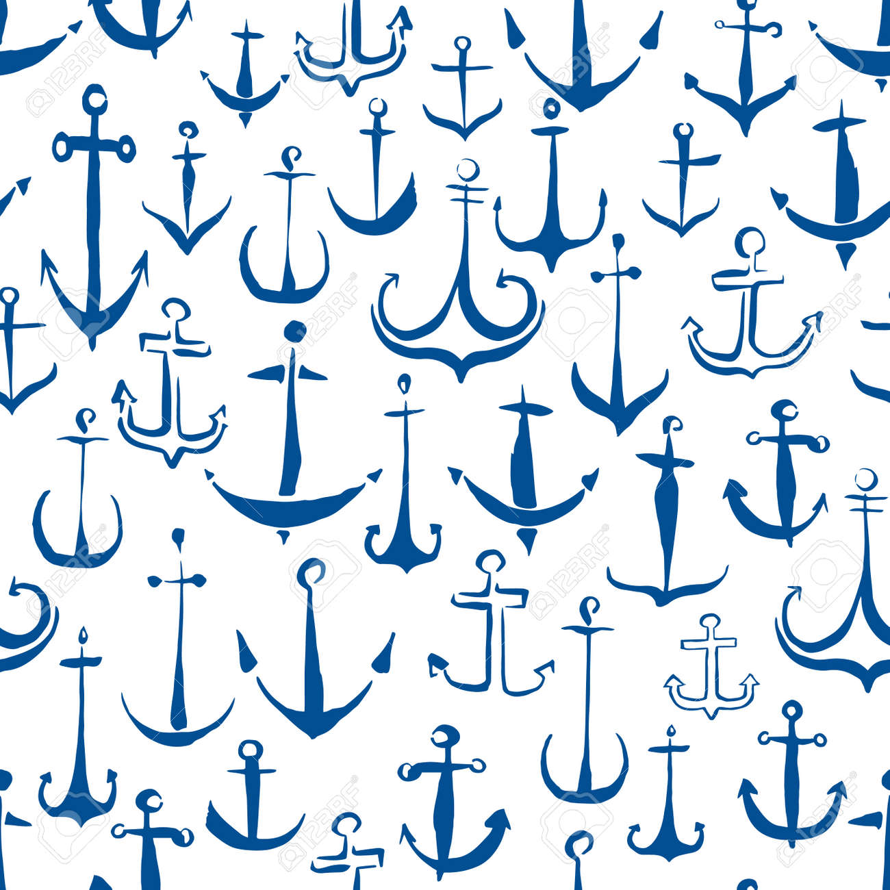 Anchors seamless pattern hand painted with ink brush - 164334467