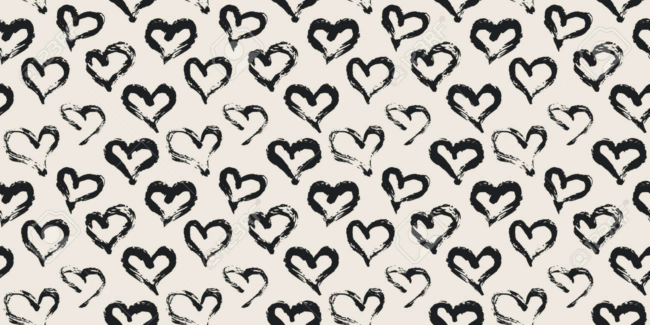 Seamless heart pattern hand painted with ink brush - 163908751