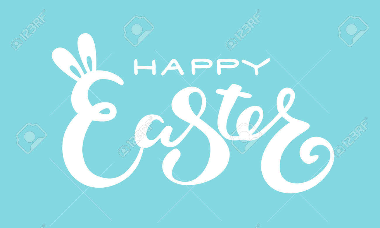 Cute Happy Easter lettering quote with bunny ears - 163908756