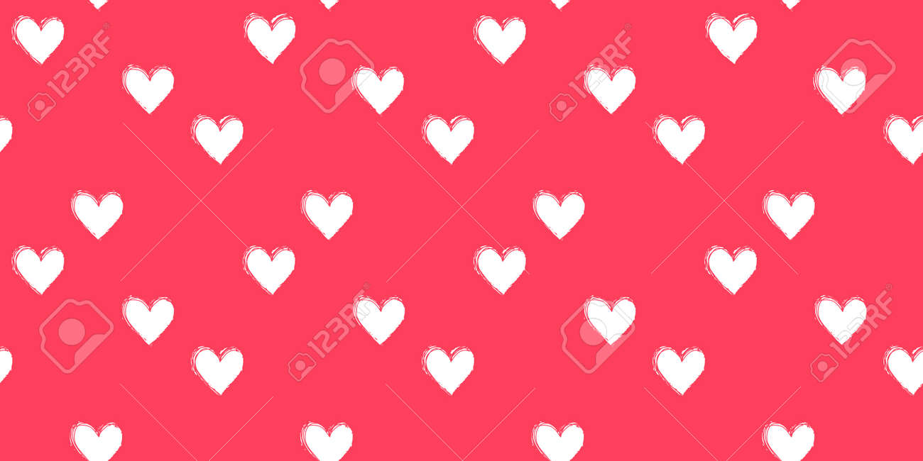 Seamless heart pattern hand painted with ink brush - 163908761