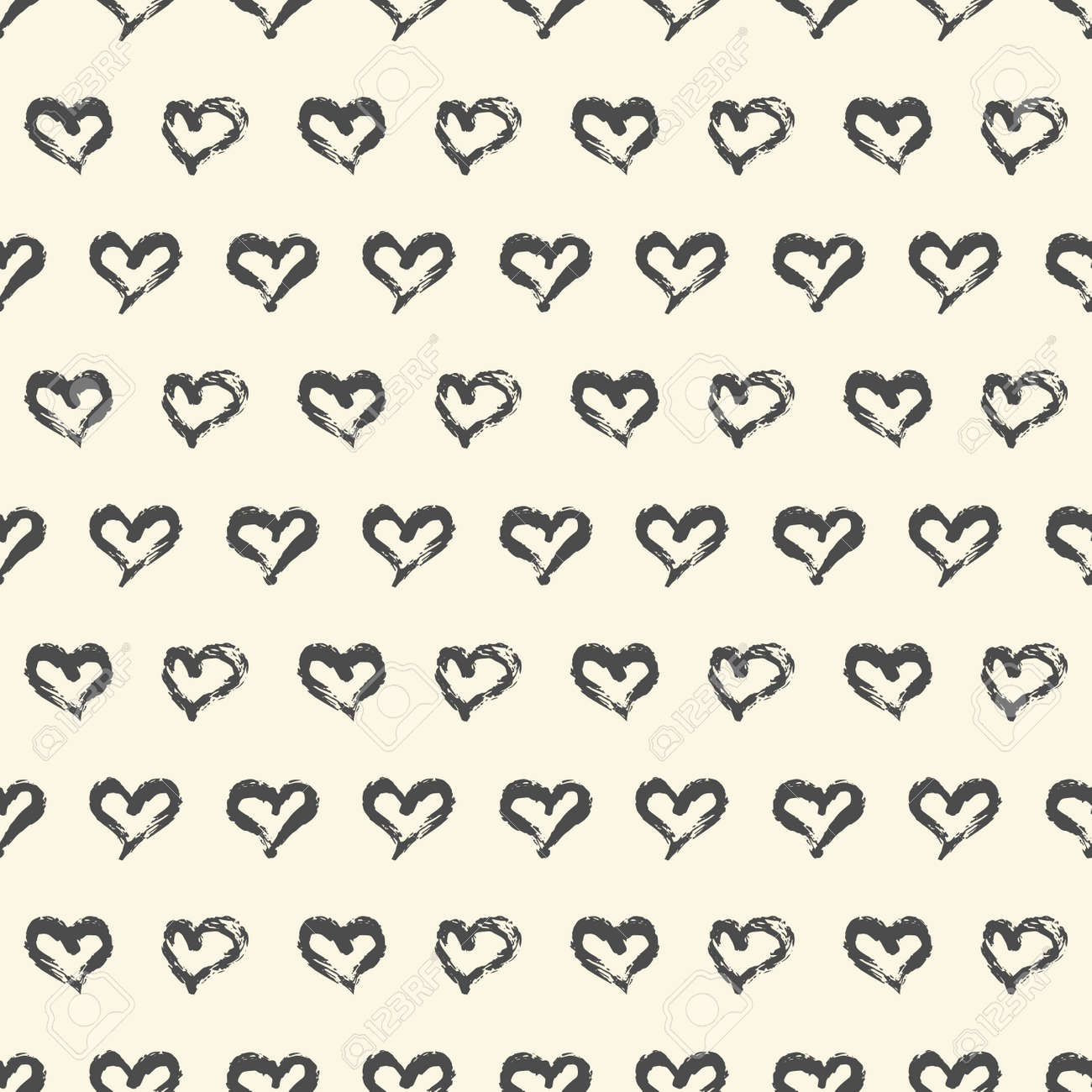 Seamless heart pattern. Hand painted ink brush - 163908766